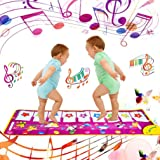 Yolyoo Musical Mat, Piano Keyboard Play Mat Animal Musical Step on Dance Toy Baby Touch Electronic Piano Play Mat for 3…