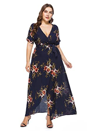 9515386fd7098 Women's Floral Print Summer Short Sleeve Plus Size Casual Maxi Dress