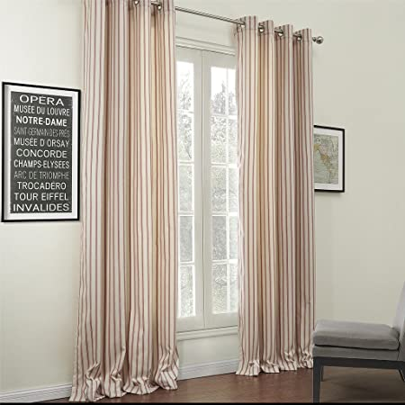 IYUEGO Classic Jacquard Stripe Cotton Linen Blend Eco-Friendly Grommet Top Curtain with Multi Size Custom 100 W x 102 L One Panel