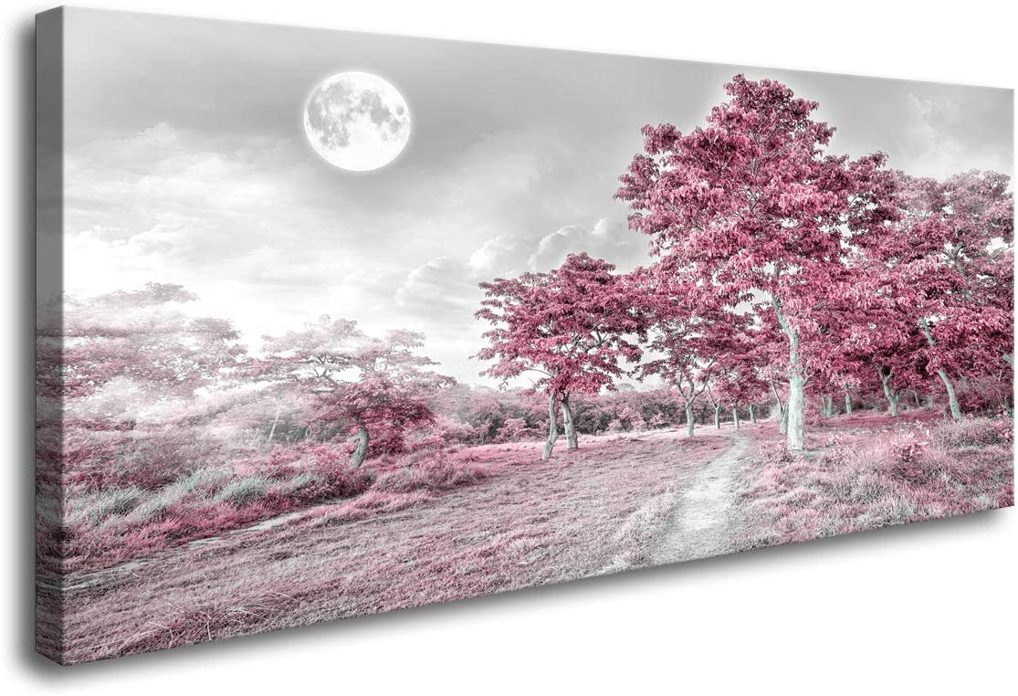 """youkuart Canvas Wall Art for Bedroom Simple Lifeg Pink Moon Tree Artwork Painting Office Wall Decor 20"""" x 40"""" Single Pieces Canvas Prints Ready to Hang for Home Decoration"""