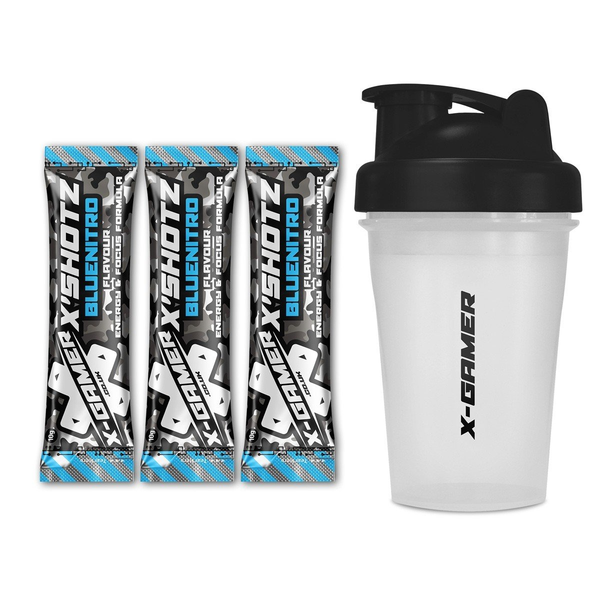 X-Gamer | X-Shotz Blue Nitro (3 Pack) with X-Shakez Shaker | Blue Nitro Flavored Focus and Energy-Drink Beverage for Gamers and E-Sports Enthusiasts | 27 Multi-Vitamin Complex | Zero Added Sugar