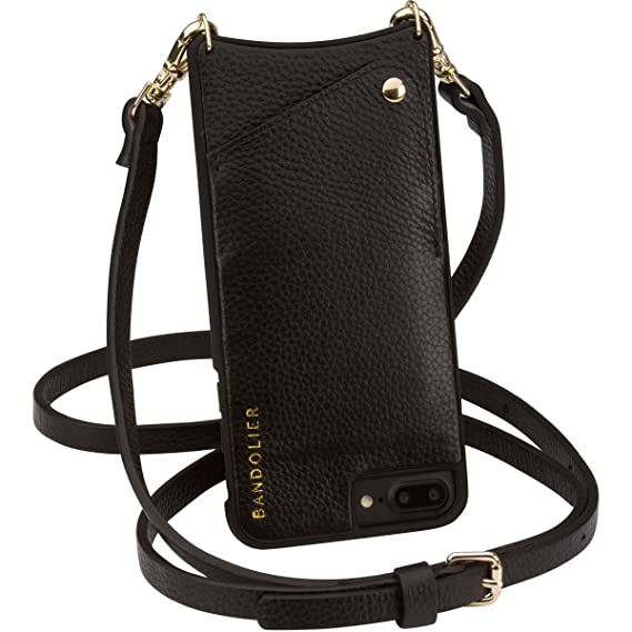 8767644f38d9 Amazon.com  Bandolier  Emma  Crossbody Phone Case and Wallet - Compatible  with iPhone 8 7   6 - Black Leather with Gold Accent  Cell Phones    Accessories
