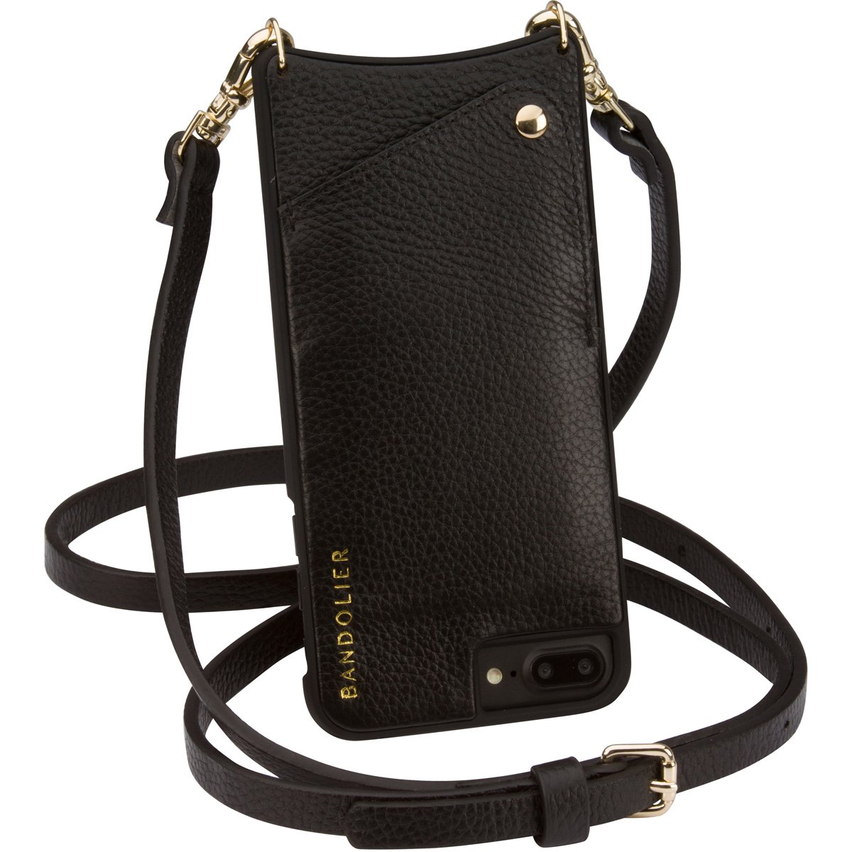 Bandolier [Emma] Crossbody Phone Case and Wallet - Compatible with iPhone 8 Plus, 7 Plus, 6 Plus, 6s Plus - Black Leather with Gold Accent