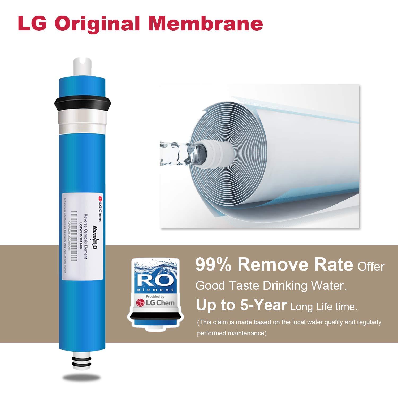 Fácil instalación pureplus 5-Stage Ultra fuerte, sistema de filtro de agua de ósmosis inversa RO sistema RO-5 80 GPD, Auto filtración de Stop, ...