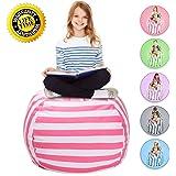 "WEKAPO Stuffed Animal Storage Bean Bag Chair   38"" Extra Large   48"" Quality YKK Zipper   Premium Cotton Canvas By (pink)"