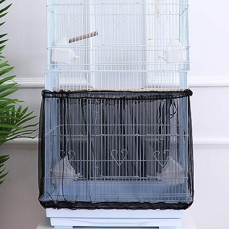 POPETPOP - Falda Universal para Jaula de pájaros con cordón Ajustable para atrapar Semillas, Cubierta