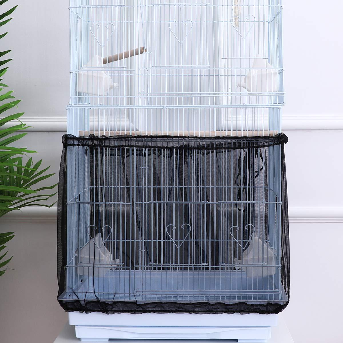 POPETPOP Bird Cage Cover Seed Catcher Birdcage Nylon Mesh Net Cover Skirt Guard (Black)