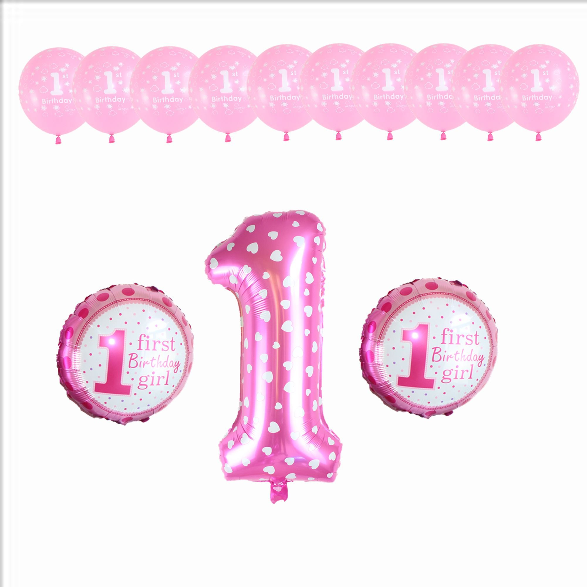 1 Year Old Birthday Party Decorations Baby Boy Girl Pink Blue Latex Foil Balloons (42INCH, Pink)