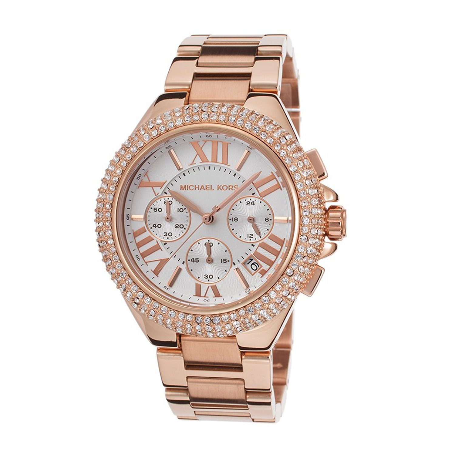 5106a3525150 Amazon.com  Michael Kors MK5636W Women s Chronograph Camille Rose Gold-Tone  Stainless Steel Bracelet Watch …  Watches