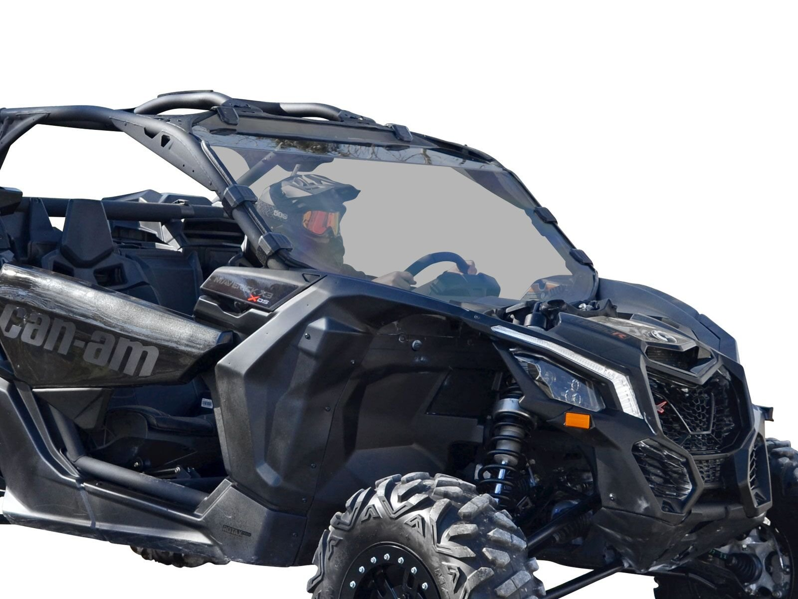 SuperATV Heavy Duty Scratch Resistant Tinted Full Windshield for Can-Am Maverick X3 900 / Turbo/X RC/X RS/X DS/X MR/MAX (2017+) - Light Tinted Scratch Resistant Polycarbonate