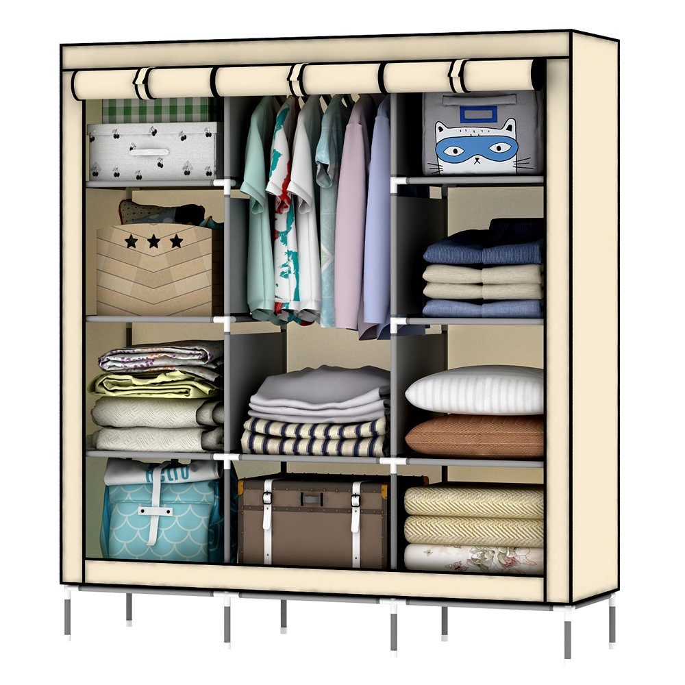 OUMYJIA 69'' Non-woven Fabric Wardrobe Portable Clothes Closet Storage Organizer, 51 x 17.5 x 69 inches, Beige