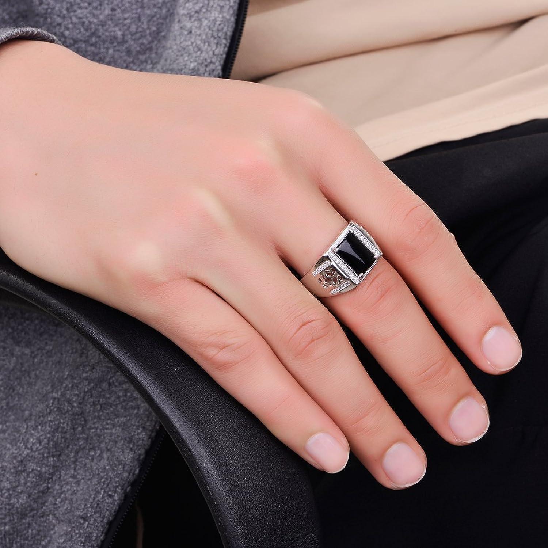 JIANGXIN Men\'s Luxury 925 Sterling Silver Ring Square Black Onyx ...