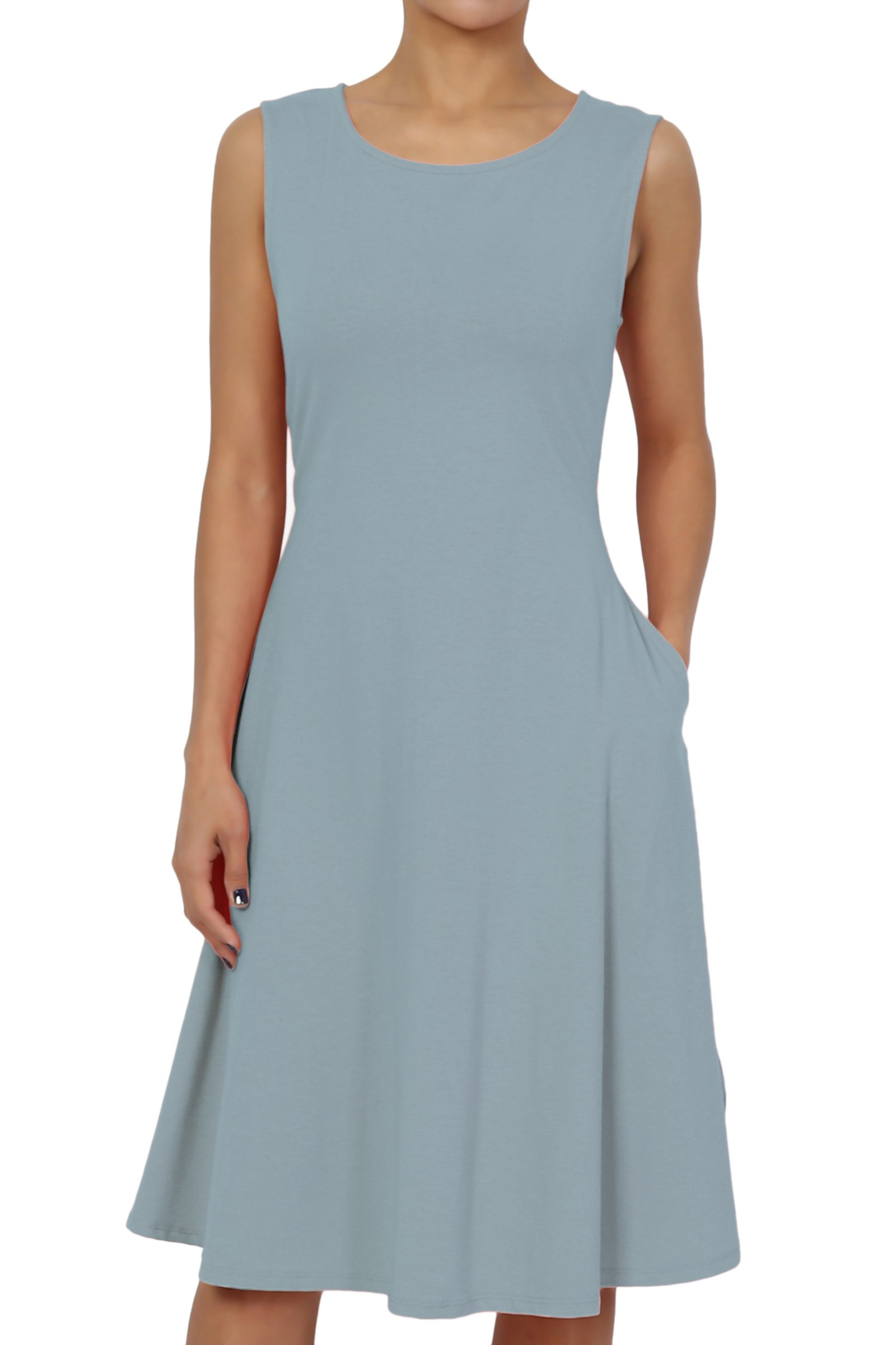 TheMogan Women's Sleeveless Pocket Stretch Cotton Fit & Flare Dress Ash Blue 1XL
