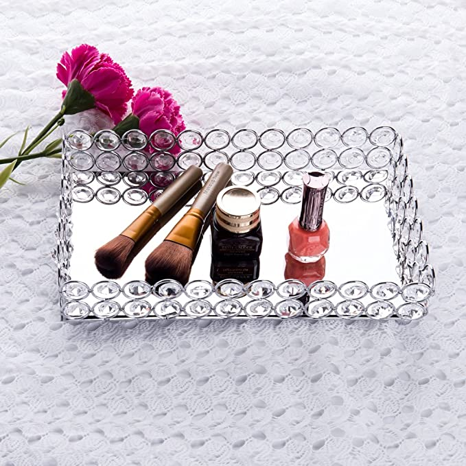 Amazon.com: Feyarl Crystal Beads Cosmetic Tray Rectangle Jewelry Organizer Tray Mirrored Decorative Tray (Silver): Home & Kitchen