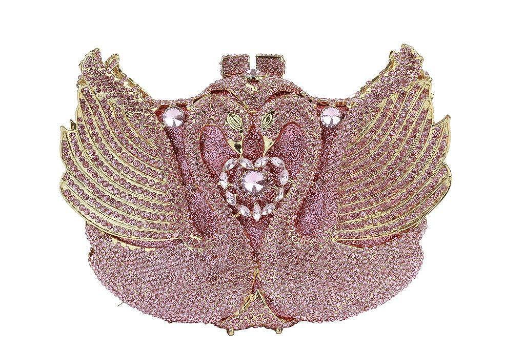 Yilongshengレディースダブルスワンイブニングクラッチバッグwith Shiny Crystalダイヤモンド   B01ECB9HVA