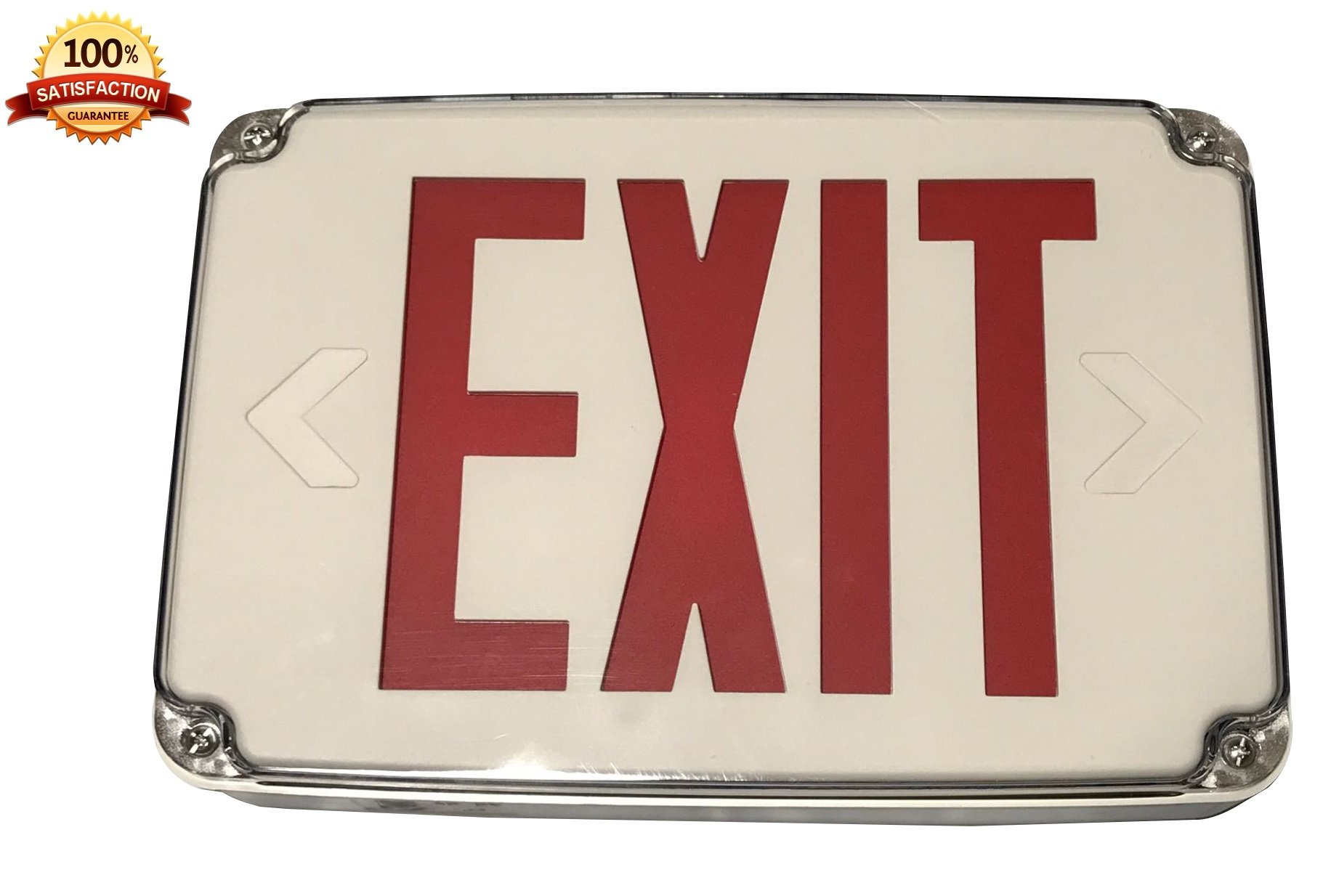 Red LED Compact Outdoor Exit Sign For Wet Location With Battery Backup