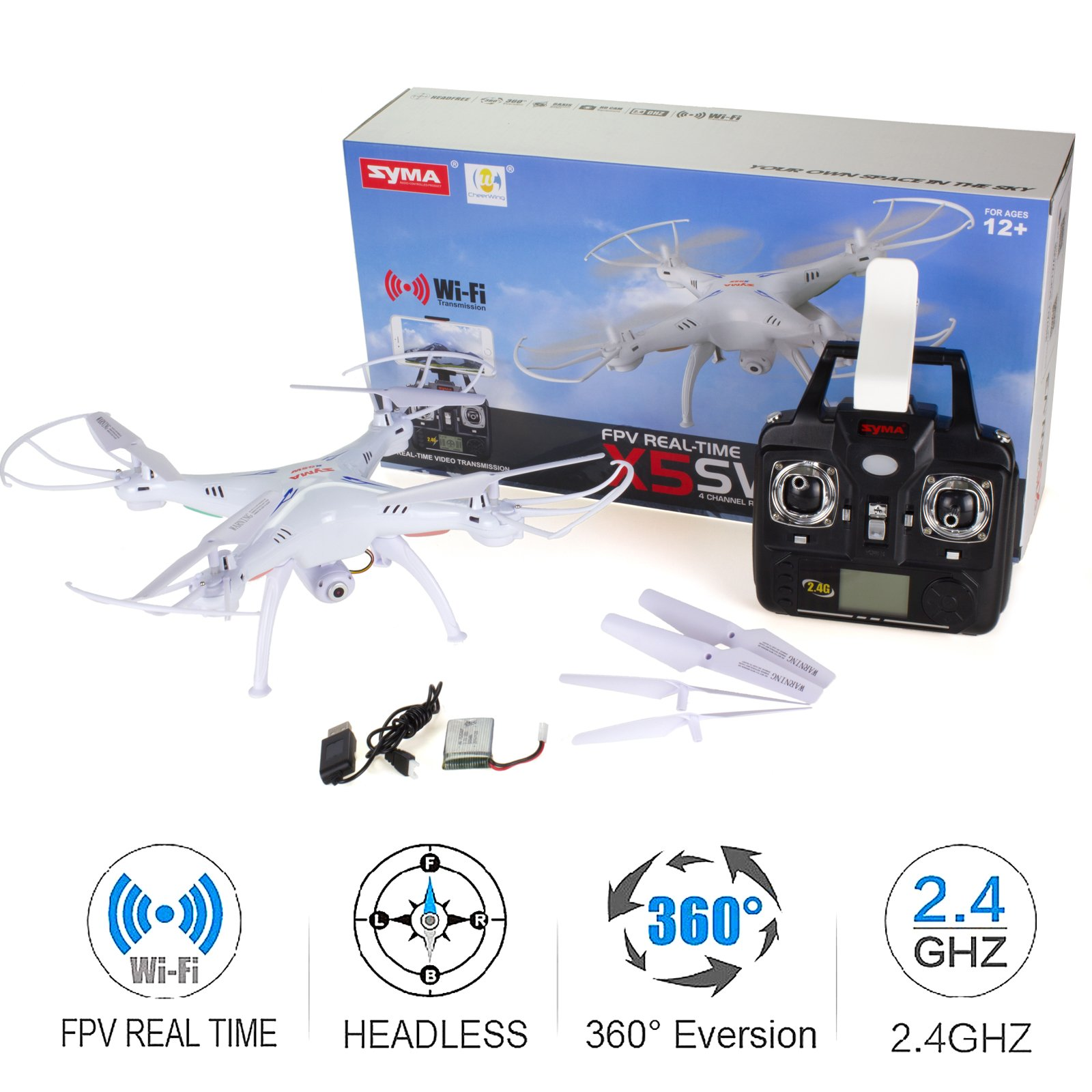 Cheerwing Syma X5SW-V3 FPV Explorers2 2.4Ghz 4CH 6-Axis Gyro RC Headless Quadcopter Drone UFO with HD Wifi Camera (White) by Cheerwing (Image #6)