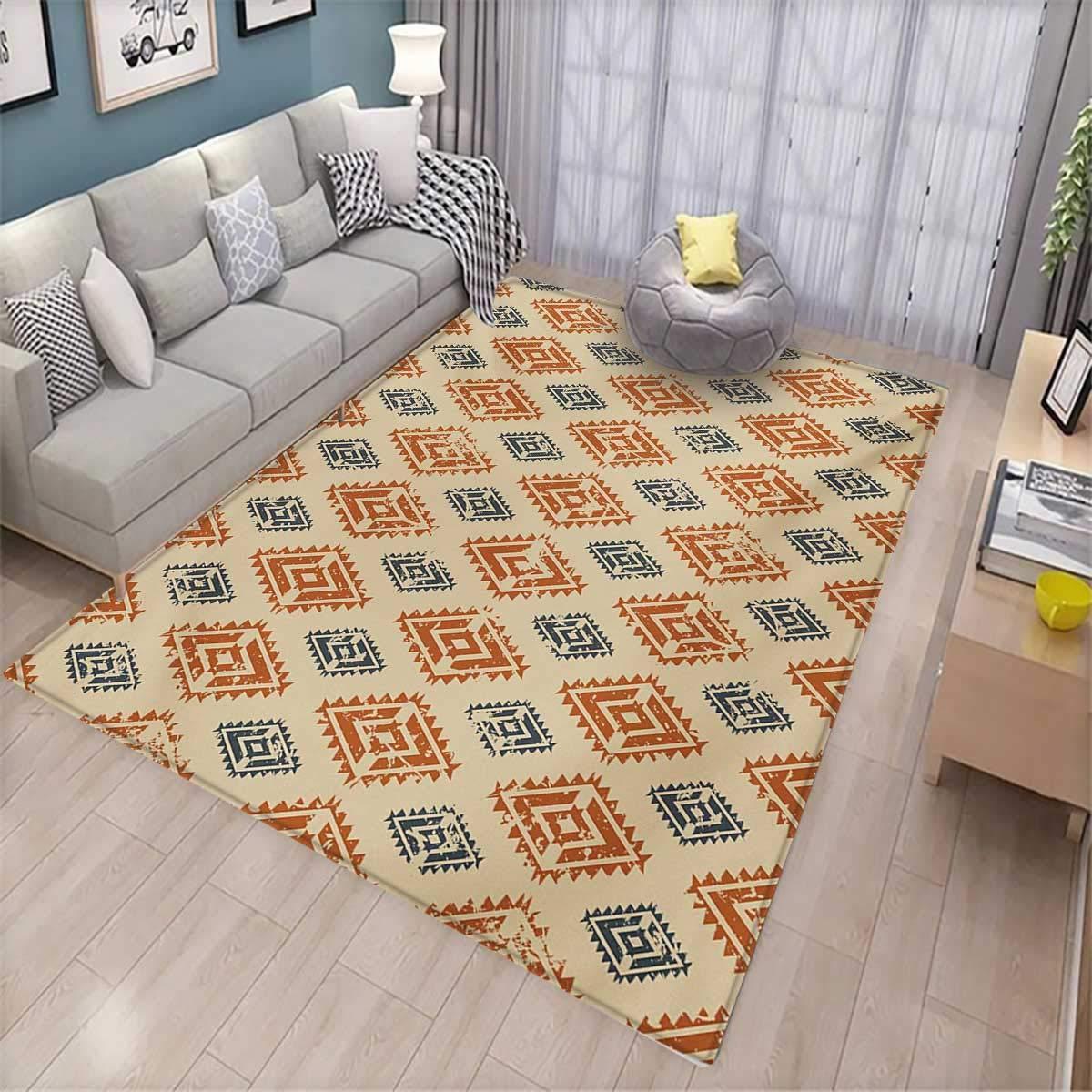 Zambia room home bedroom carpet floor mat ethnic tribal folk design with retro style aztec effects in pastel print floor mat pattern 58 x85 sand orange