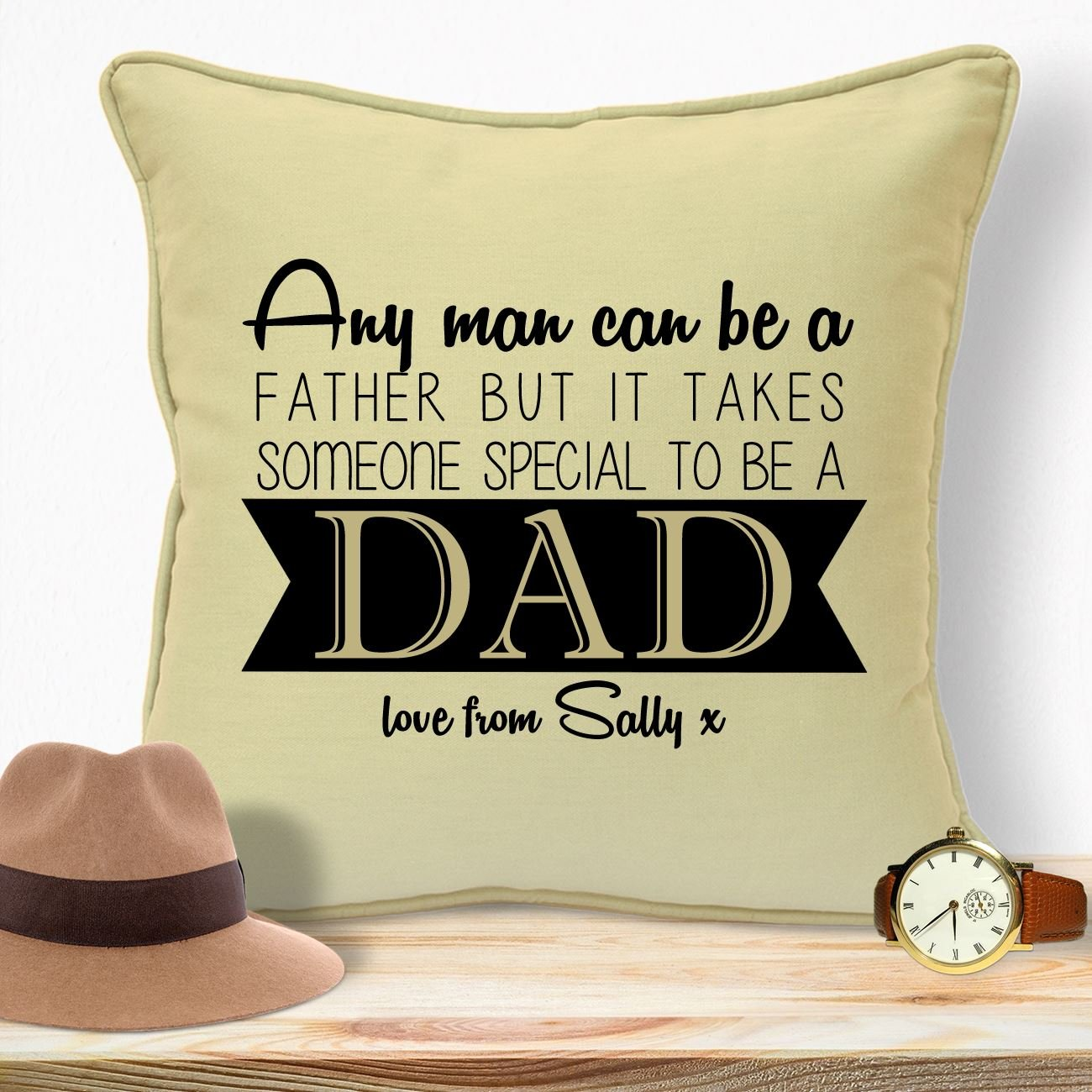 Personalised Gifts For Dad Daddy Step Dad Husband Father In Law Grandpa Papa Grampa Fathers Day Birthday Christmas Xmas From Son Daughters Wife Baby Kids Bump Newborn Children Someone Special Cushion