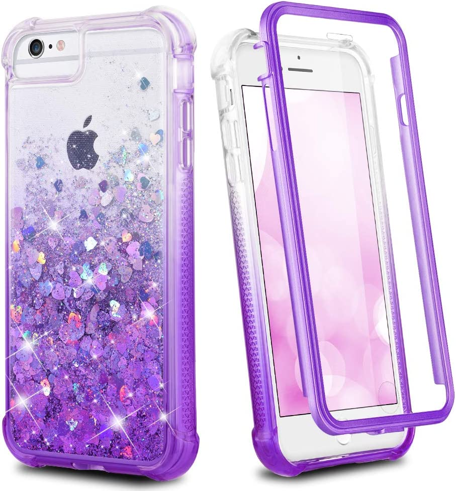 Ruky iPhone 6 Plus 6s Plus 7 Plus 8 Plus Case, Glitter Clear Full Body Rugged Liquid Cover with Built-in Screen Protector Shockproof Women Case for iPhone 6 Plus 6s Plus 7 Plus 8 Plus(Gradient Purple)