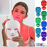 Led Face Mask with 7 Color Facial Skin Deall Mask Proven Light Therapy Acne Photon...