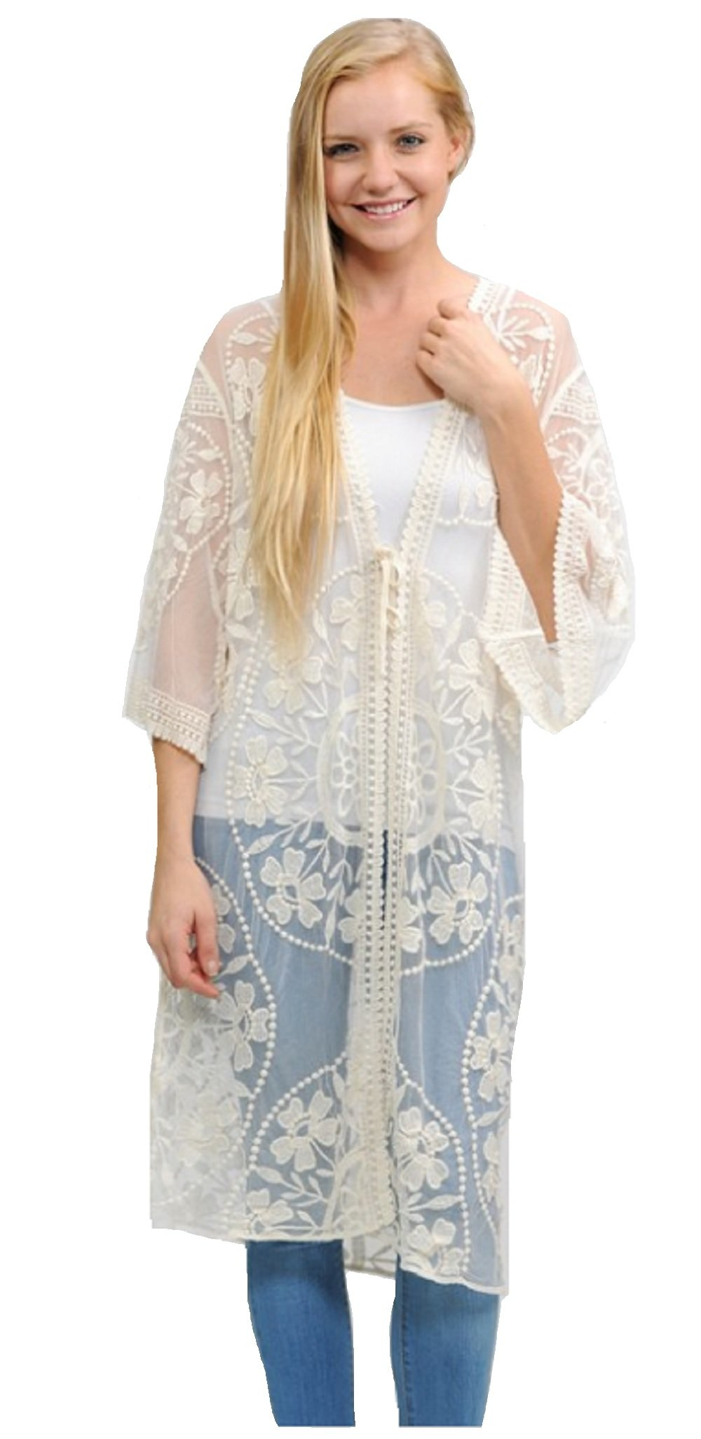 Love My Seamless Contemporary Fashion Long Crochet Lace Shrug Open Cardigan Duster Cover up Jacket (Ivory)