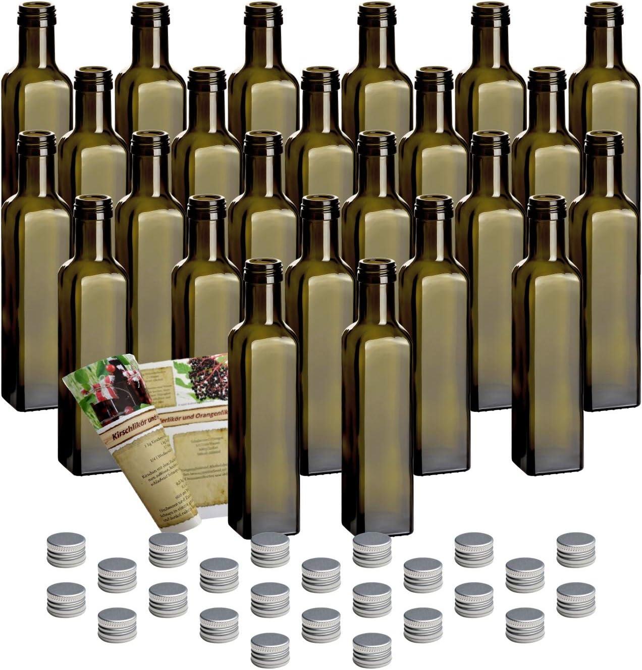 Mara Antik Juego de 24 botellas de cristal, 250 ml, incluye tapón de rosca y libreto de recetas para rellenar, botella de licor