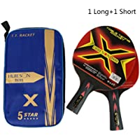 xianjun Raquetas De Tenis De Mesa, 2PCS Juego De Raqueta De Tenis De Mesa De Carbono Ligero Potente Ping Pong Bat Paddle
