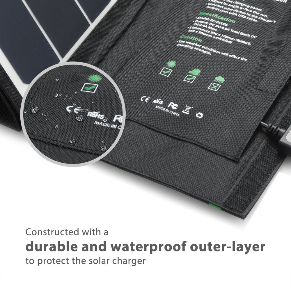 Solar Charger RAVPower 24W Solar Panel with Triple USB Ports Waterproof Foldable for Smartphones Tablets and Camping Travel (Certified Refurbished) by RAVPower (Image #6)