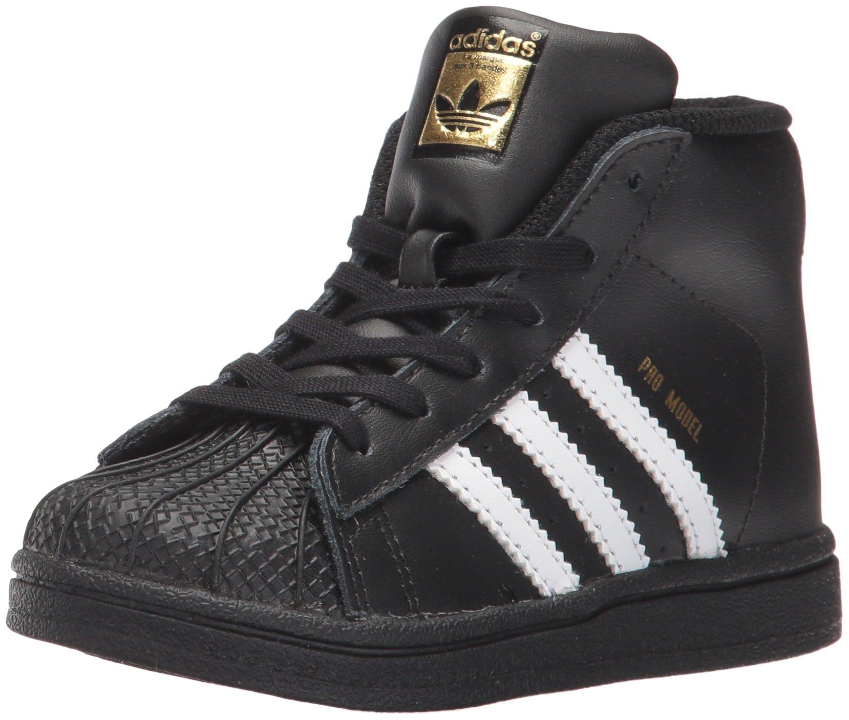 adidas Baby Pro Model Inf Sneaker, Core Black,White, Gold Met., 10K M US Toddler