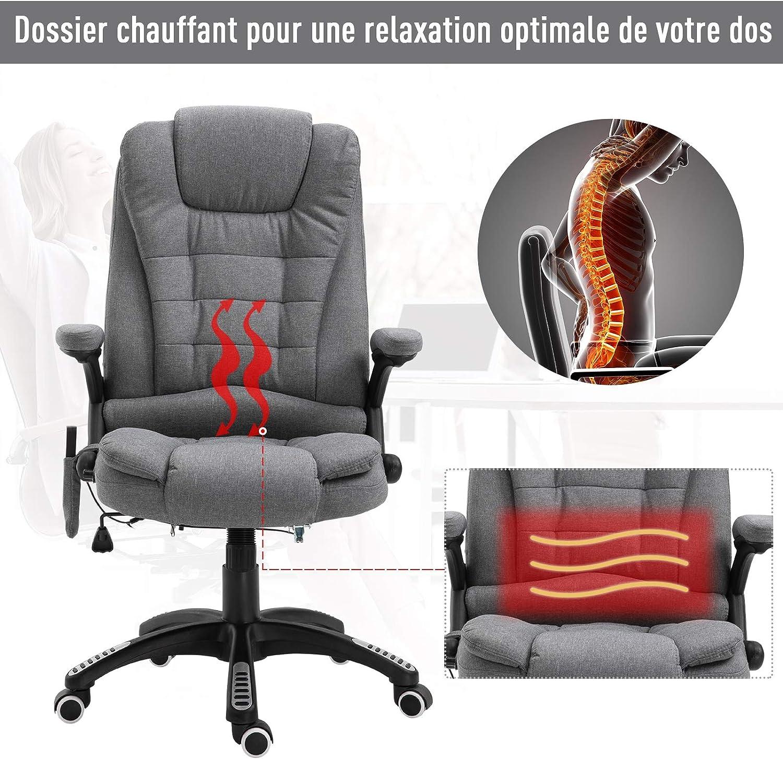 Homcom Fauteuil de Bureau Direction massant Chauffant Hauteur r/églable Dossier inclinable Toile de Lin Gris chin/é