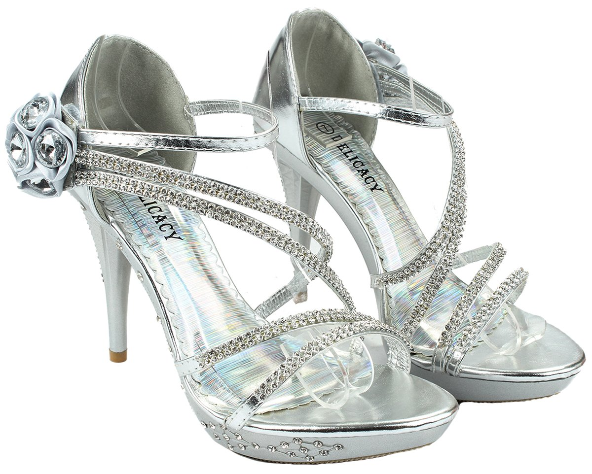 Women Strap Sparkle Rhinestone Strappy Zipper Open Toe Party Evening Dress Heels Sandal Pumps B074HJLVZ4 7 B(M) US Silver_d61