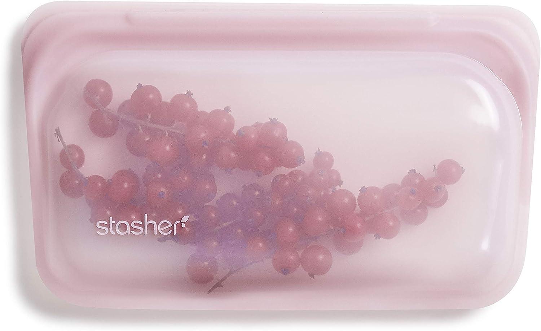 Stasher Platinum Silicone Food Grade Reusable Storage Bag,Rose Quartz (Snack) | Reduce Single-Use Plastic | Cook, Store, Sous Vide, or Freeze | Leakproof, Dishwasher-Safe, Eco-friendly |12 Oz