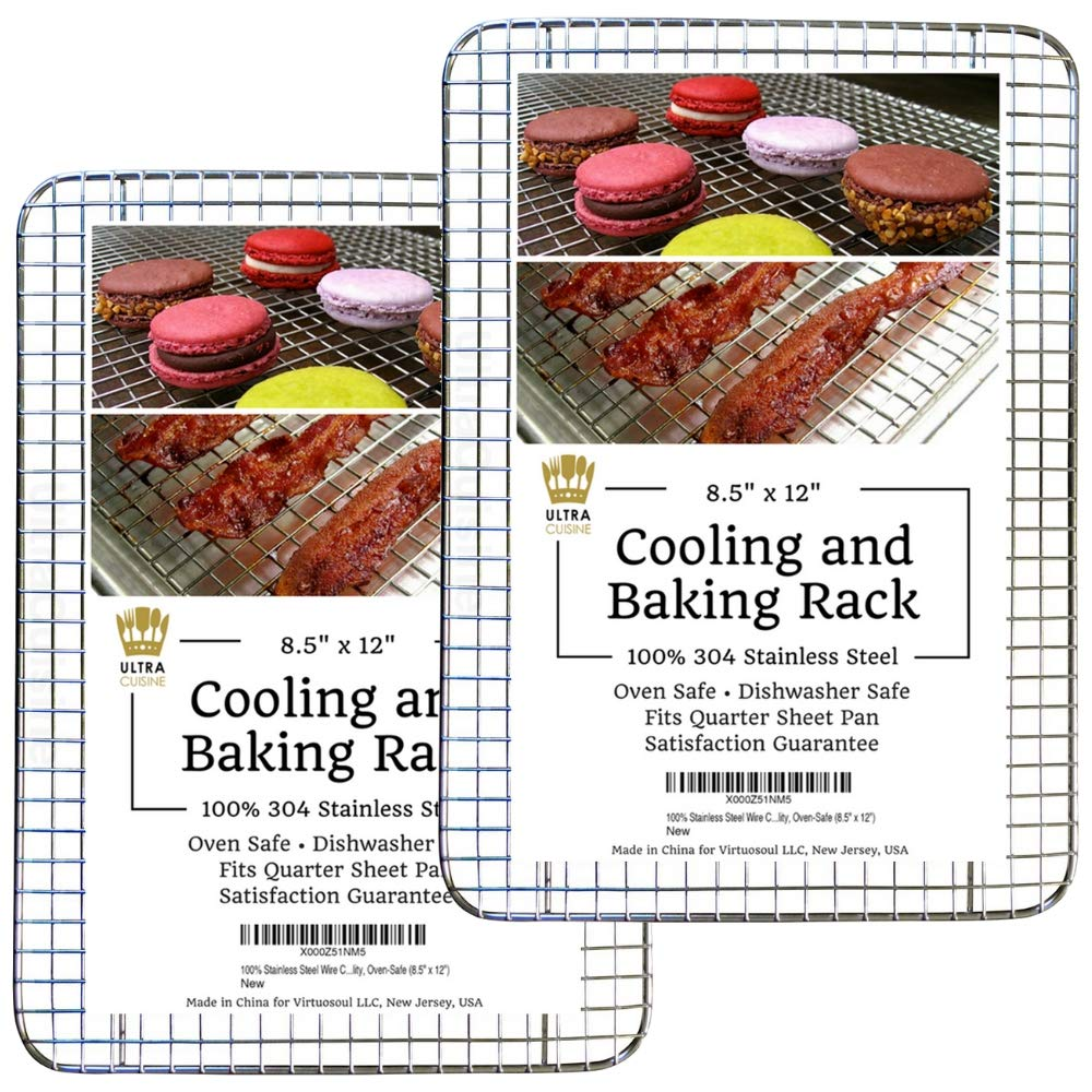 "Cooling Baking & Roasting Racks for Quarter Sheet Size Pans - 100% Stainless Steel Wire Racks for Cooking - Dishwasher & Oven Safe, Rust Resistant, Heavy Duty by Ultra Cuisine (8.5"" x 12"" - Set of 2)"