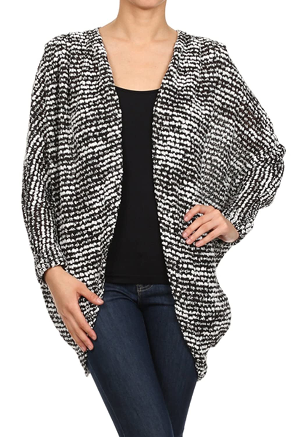 Bubble B Women's Juniors Long Sleeve Oversize Open Cardigan Black White