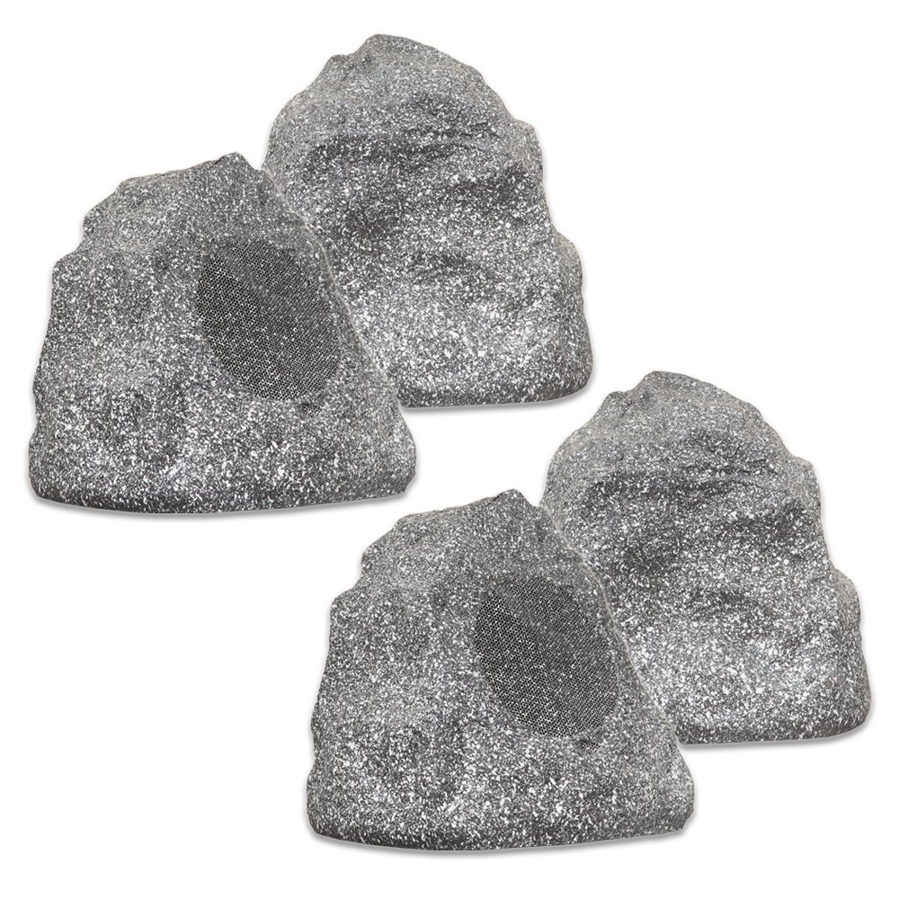 Theater Solutions 4R4G New Wired Outdoor Garden Waterproof Granite Rock Patio Speakers (set of 4) by Theater Solutions