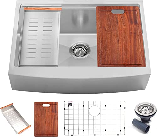 Koozzo 33 Farmhouse Style Rectangular Workstation Sink, SUS304 16 Gauge Stainless Steel Material, Including Strainer, Colander, Cutting-board, Grid