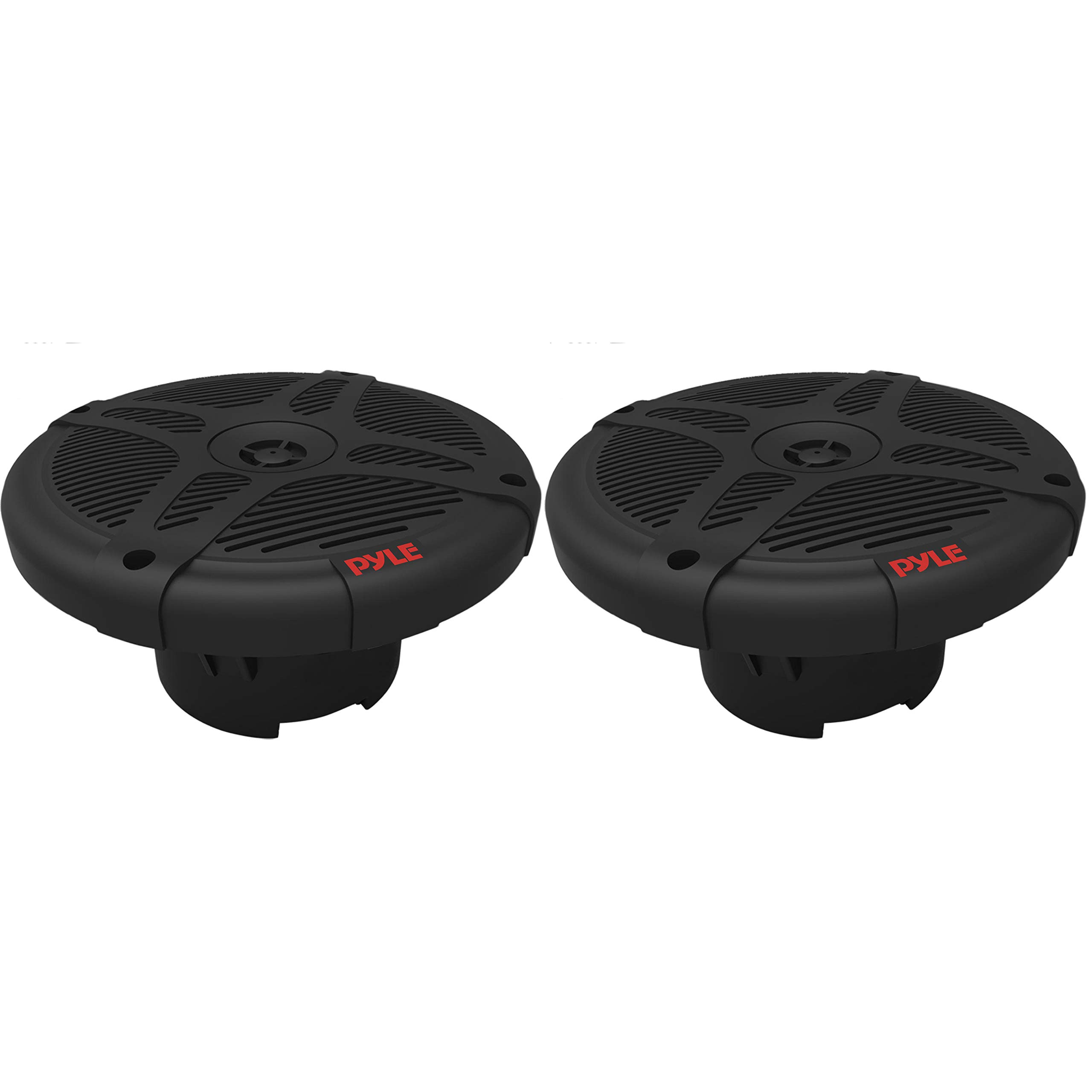 6.5 inch Dual Marine Speakers - Waterproof and Bluetooth Compatible 2-Way Coaxial Range Amplified Audio Stereo Sound System with Wireless RF Streaming and 600 Watt Power - 1 Pair - PLMRF65SB (Black)