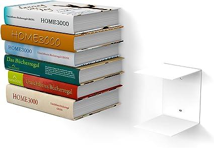 1 estante grande invisible blanco para libros grandes con una profundidad de hasta 30 cm