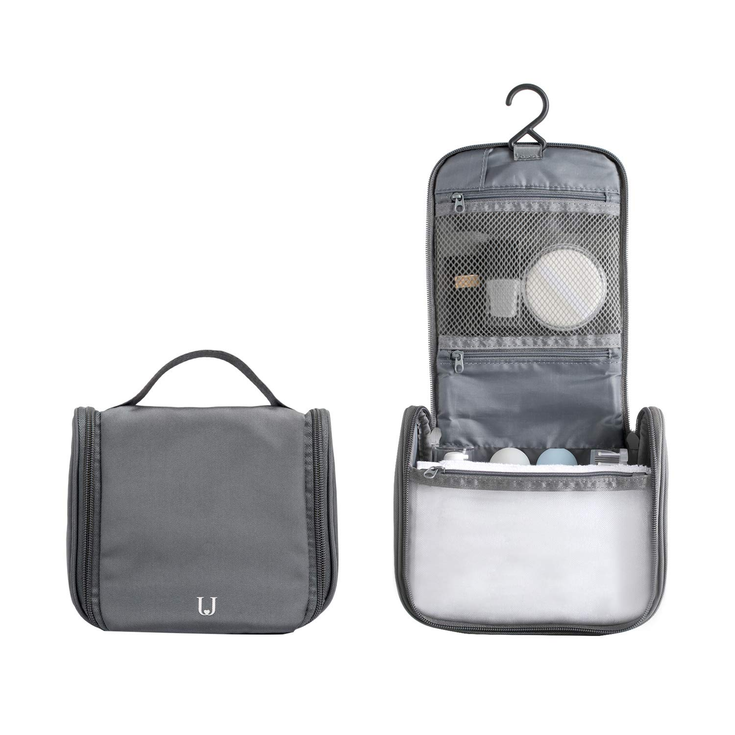 a9bf0a1ff3cfdd Travel Toiletry Bag Water Proof Nylon Wash Bag for Short Trip or Gym with  Hanging Hook (Dark Grey)  Amazon.co.uk  Luggage
