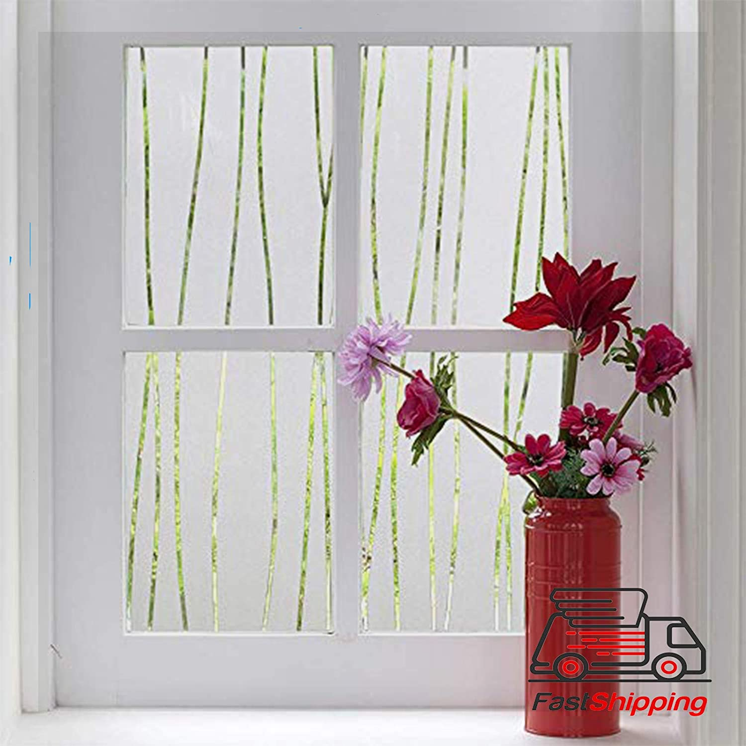 Window Film Frosted-Window Film for Privacy and Light Protection | Vinyl Sticker Film Creates a Frosted Glass Look |Static Cling | Perfect for Home and Office (17.7'' x157.4, Irregular Stripe)