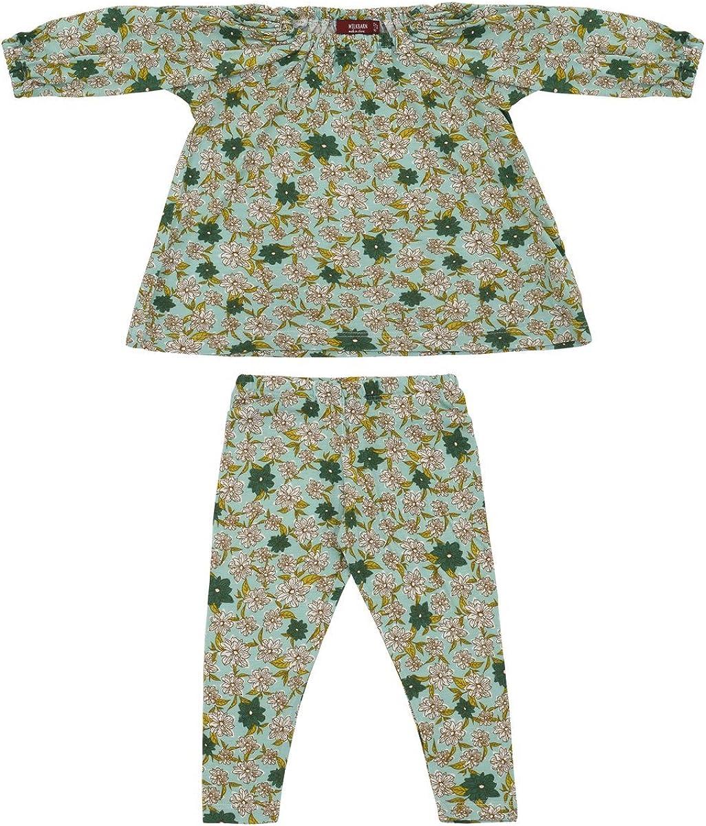 MilkBarn Infant and Toddler Bamboo Dress and Legging Set - Blue Floral