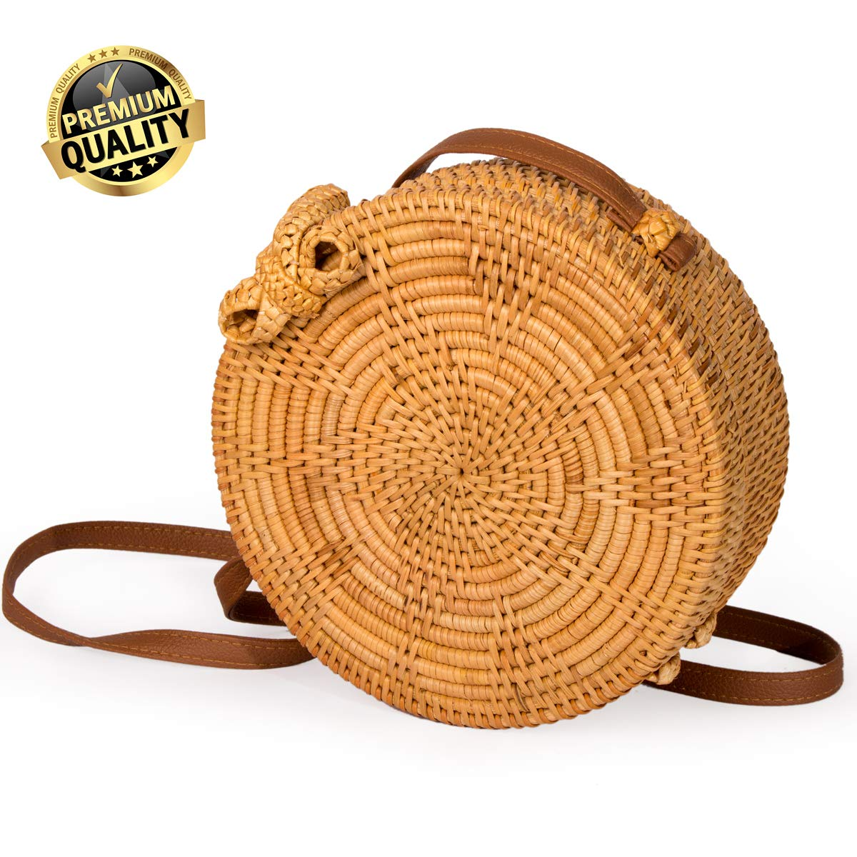 PREMIUM Women Rattan Bag Round Handwoven Rattan Crossbody Bags with Outstanding Star Decoration Leather Strap by Mallaca (Star)