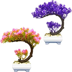 Rozwkeo 2pack Small Artificial Bonsai Tree Fake Plant Potted House Plants Japanese Pine Bonsai Plant Faux Bonsai for Home Indoor Decoration Office Windowsill Yard Desktop Display Trees Zen Decor