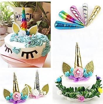 HENGSONG Einhorn Horn Cake Topper Cupcake Torten Dekoration Kuchen Fur Geburtstag Party Deko Gold