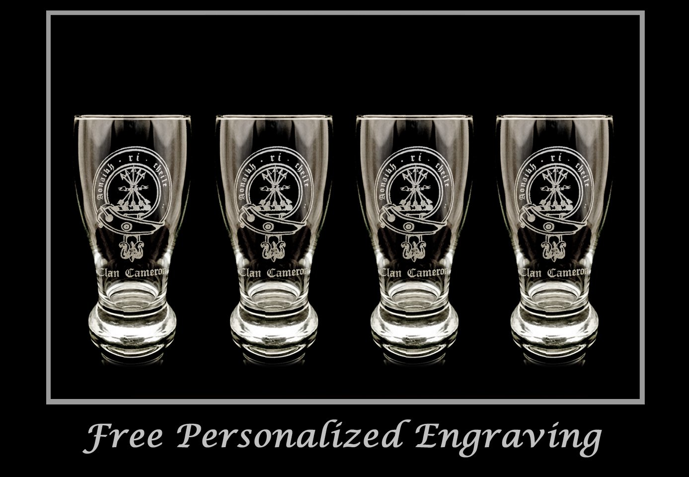 Clan Cameron Scottish Crest Pint Glass Set of 4- Free Personalized Engraving, Family Crest, Pub Glass, Beer Glass, Custom Beer Glass