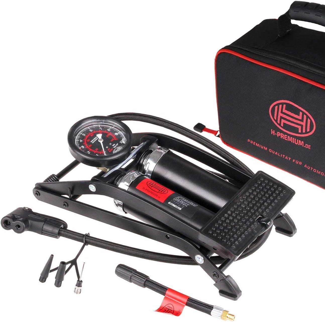 Double Barrel Foot Air Pump Heyner Premium With Manometer 10 Bar 140PSI Pedalmax