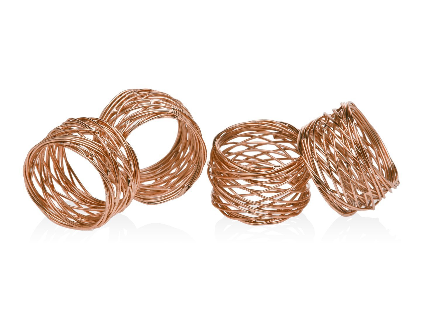 ITOS365 Handmade Round Mesh Napkin Rings Holder for Dinning Table Parties Everyday, Set of 6