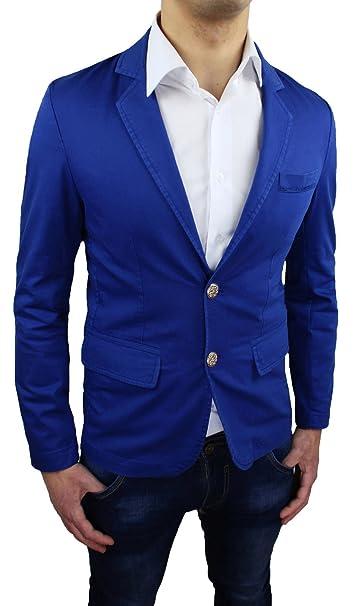 Giacca blazer uomo cotone Blu nuova casual sportiva Slim Fit aderente   Amazon.it  Abbigliamento 6f61f65a960