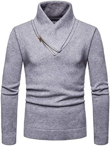 EOZY Jersey de Cuello Alto Hombre Camisa Suéter de Punto ...